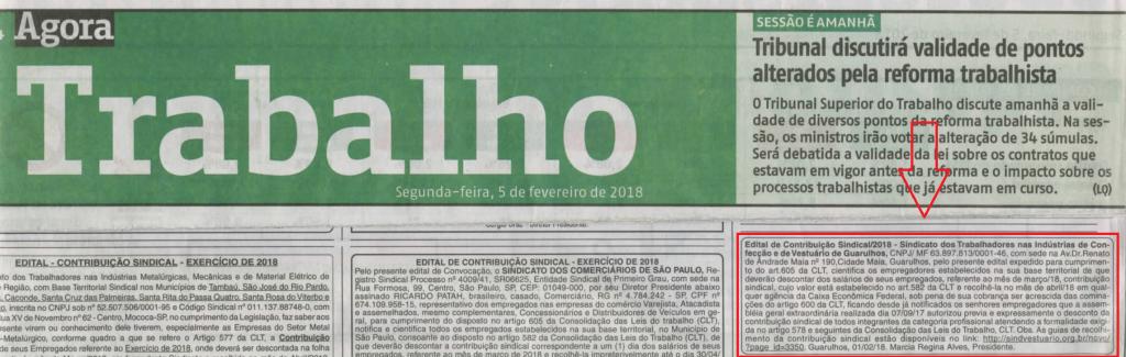 Sindvestuário Guarulhos notifica empresas da autorização da categoria para descontar contribuição sindical em março de 2018